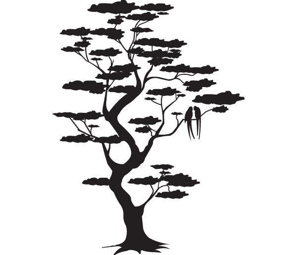 Silhouette arbre et oiseaux meowwwww - Dessin arbre japonais ...
