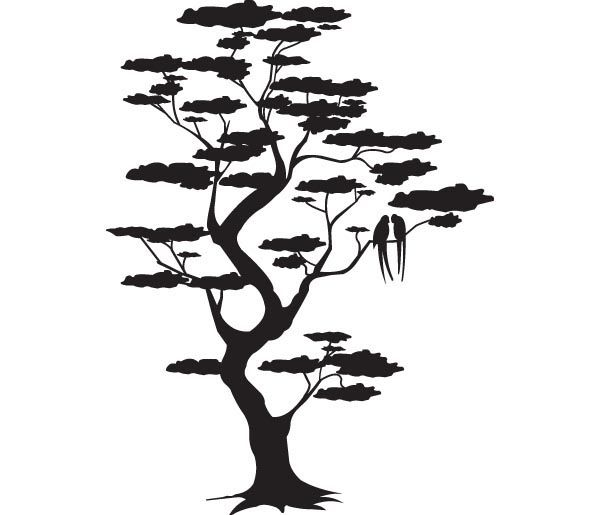 silhouette arbre et oiseaux meowwwww. Black Bedroom Furniture Sets. Home Design Ideas